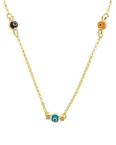 Silver Luxe Collar Ojo Turco Oro