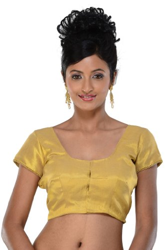 Saris and Things Designer Sari Blouse Choli-Gold-S