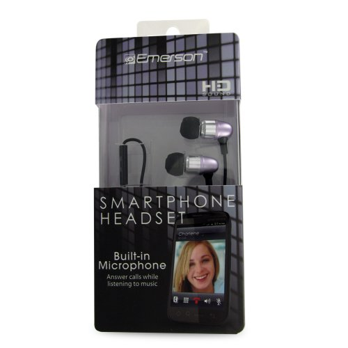 Emerson Em887Pr Stereo Headset For Iphone, Blackberry And All 3.5Mm Headset Jacks - Retail Packaging - Purple