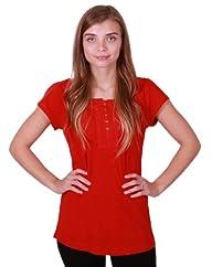 Eddie Bauer Women's Scoop Neck, Short Ragan Sleeve Embellished Henley