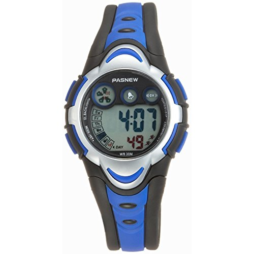 Pasnew Kids' PSE-BL-276g Digital Blue & Black Waterproof Sports Digital Watch