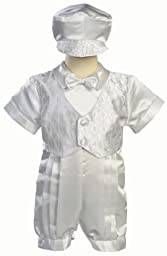 White Satin Christening Baptism Romper with Vest and Matching Hat - 12 to 18 months
