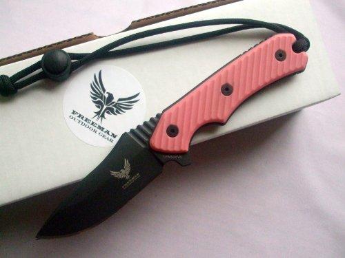 Freeman Outdoor Gear Compact 451 Fixed Blade Knife Black Blade Pink Handle