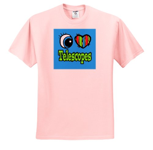 Dooni Designs Eye Heart I Love Designs - Bright Eye Heart I Love Telescopes - T-Shirts - Youth Light-Pink-T-Shirt Small(6-8)