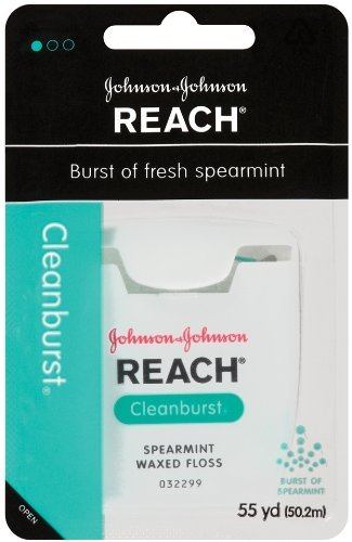 Reach Clean Burst Dental Floss, Spearmint Waxed, 55 Yards (Pack Of 6) front-185517