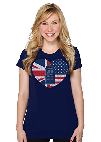 Doctor Who Her Universe Women's Distressed TARDIS Flag Heart T-Shirt (Medium) (British Shirt For Girls compare prices)