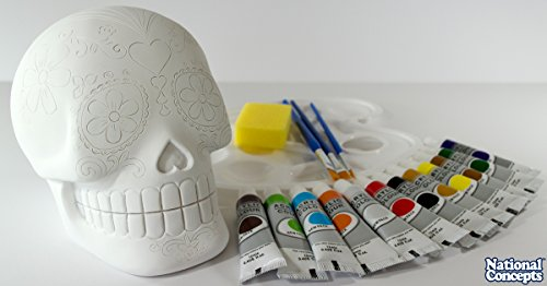 [National Concepts Design-Your-Own Day of the Dead Sugar Skull with 17 Piece Non-Toxic Professional Acrylic Paint] (Diy Family Costumes)