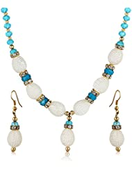 MooiVilli Sky Blue Crystals & Oval Shaped Pearls Necklace Set / Jewellery Set With Earrings For Girls And Women