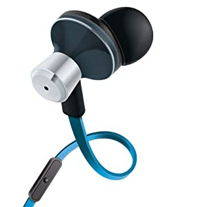 GOgroove AudiOHM iDX Noise Isolating Earbuds Style Headphones ( Electric Blue ) with Hands-Free Microphone , Call / Music Control & Custom Fit Silicone Ear Gels - Works with iPhone 5S , Samsung Galaxy S5 , S4 , Note 3 and many more!