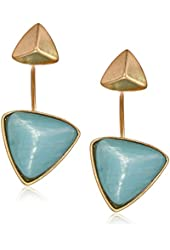 Kenneth Cole New York Sea Stone Beach Stud and Geometric Bead Drop Earrings