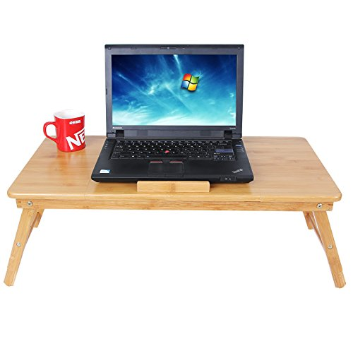 Songmics bamboo laptop desk foldable breakfast serving bed tray for right lef - Tablette de lit ikea ...