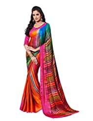Multi Color Crepe Jacquard Party Wear Saree