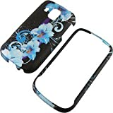 Blue Flowers Black Protector Case for Samsung Transform Ultra M930 ~ edealsaving