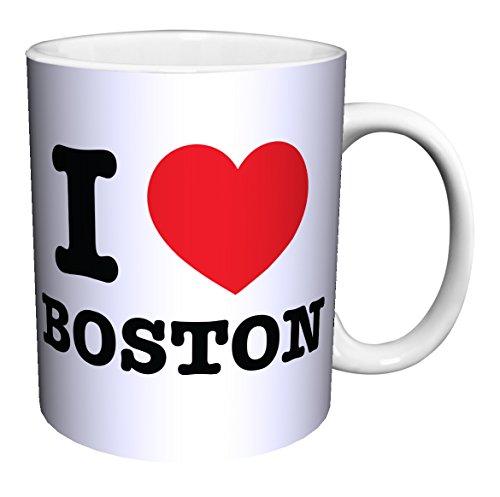I Heart Boston (Massachusetts) Novelty City Pride Quote Decorative Ceramic Gift Coffee (Tea, Cocoa) 11 Oz. Mug