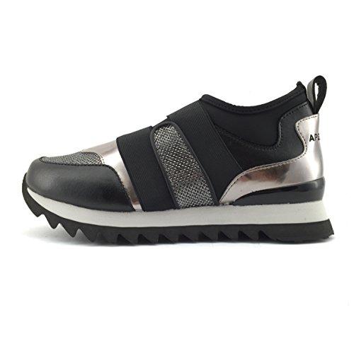 Apepazza DLY17 METAL scarpa donna senza stringhe nera e bronzo con fasce elastiche (38)