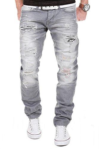 MERISH Herren Jeanshose Destroyed Look Chino Regular Fit Jeans Hose Neu Trend J727 Grau 32/32