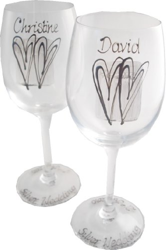 PERSONALISED 25th Wedding Anniversary Silver Wedding Wine Glasses(sq) MAXIMUM 25 CHARACTERS PER GLASS