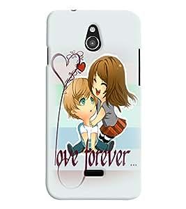 PrintVisa Cute Cartoon Romantic Lovers 3D Hard Polycarbonate Designer Back Case Cover for Infocus M2