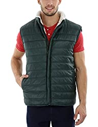 Zobello Mens Sleeveless Sherpa Lined Cire Jacket(51121B_Reef Green_X-Large)