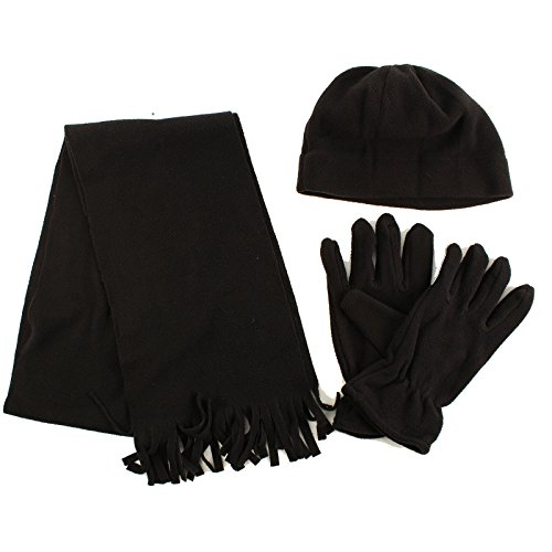 Winter Men's 3pc Fleece Set Beanie Cap Hat Gloves Fringe Scarf Gift Set Black