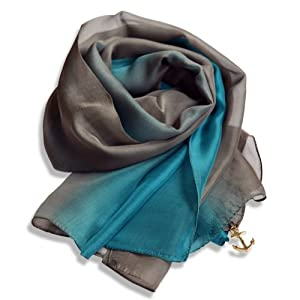 Heyjewels 100% Silk Luxury Women Scarf Neck Wraps Long Wide Stole Shawl Green Grey