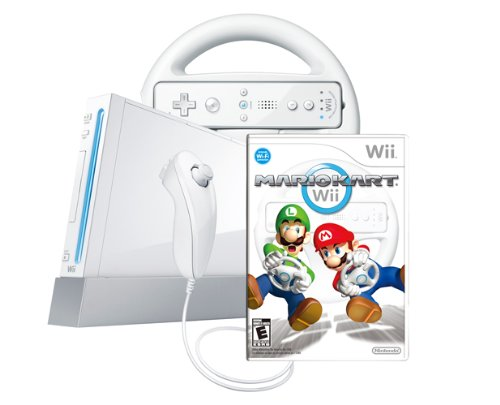 Wii Console with Mario Kart Wii Bundle  White