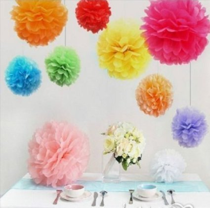 Paper flower colorful mixed 38 cm 10 pieces