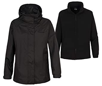 Ladies 3 in 1 Trespass Bengairn Waterproof (5000mm) Jacket with Detachable Fleece Black Size 18