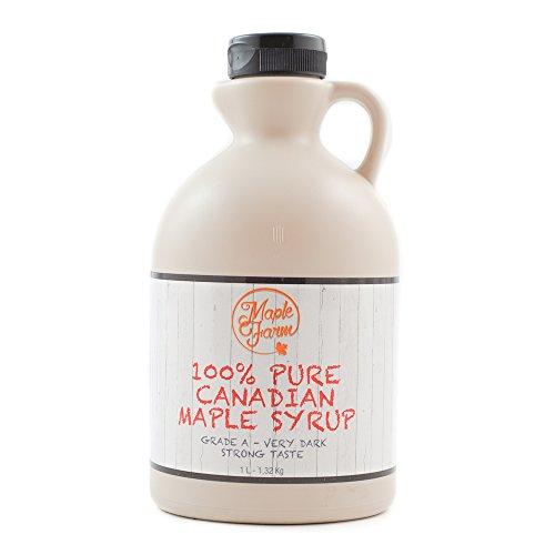 Puro sciroppo d'acero Canadese Grado A (Very dark, Strong taste) - 1 litro (1,35 Kg) - Original maple syrup - Puro succo d'acero