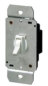 Leviton 6641-W 600W Incandescent Toggle Dimmer, Single-Pole, White
