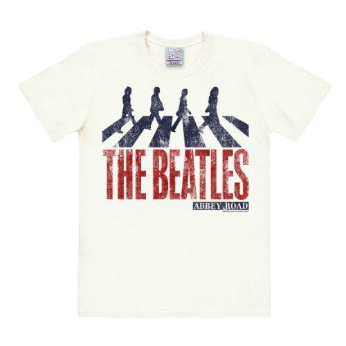 T-shirt The Beatles - Abbey Road - maglia Fab Four - maglietta girocollo di LOGOSHIRT - bianco - design originale concesso su licenza, taglia S