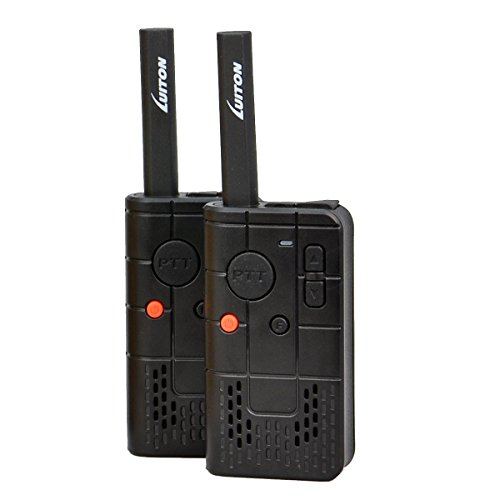 LUITON PKT-03 Mini Reasonable FRS GMRS Walkie Talkie Easily Operate with Rechargable Lithium Battery UHF 400-470MHz Portable 2-way Radios(Black)(Pair)