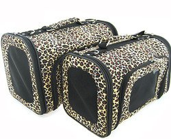 Sturdy Canvas Leopard Print Pet Carrier 2 Piece Set W/ Carry Straps For Dog Or Cat front-875023