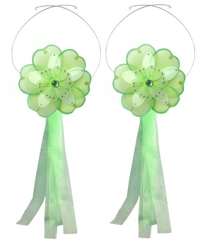 Flower Tiebacks Green & White Triple Layered Nylon Daisy Flowers Tieback Pair / Set Decorations. Window Curtains Holder Drapery Holders Tie Backs To Decorate A Baby Nursery Bedroom, Girls Room Wall Decor, Wedding Birthday Party, Bridal Baby Shower, Bathro front-1085152