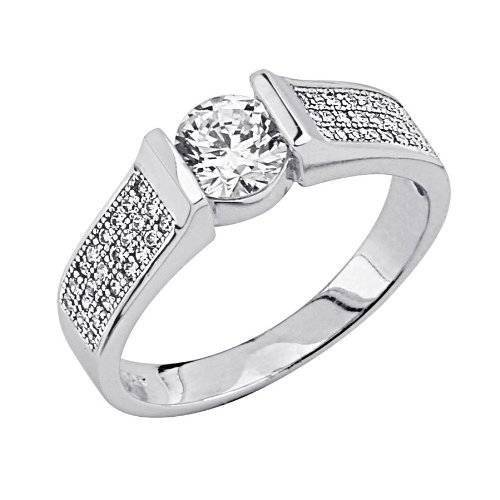 .925 Sterling Silver Round-cut CZ Cubic Ziconia Solitaire with side-stone Ladies Wedding Engagement Ring Band (Size 5 to 9) - Size 7