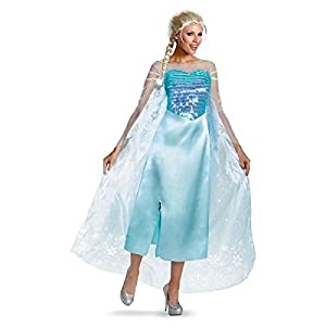 Disguise Women's Disney Frozen Elsa Deluxe Costume, Light Blue, Medium/8-10