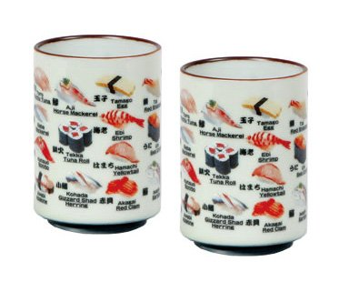 Set Of Two Japanese 10 Oz Tea Cups With Sushi Names