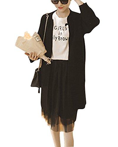 saideng-mujer-largo-colores-solidos-de-punto-cardigan-rajas-laterales-negro