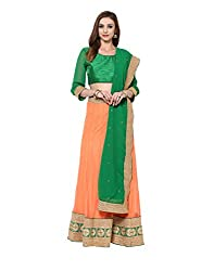 Yepme Deja Lehenga Choli Set - Green & Orange -- YPMLEHG0046_Free Size