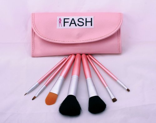 FASH Studio Quality 2011 Series Cosmetic Brush Set with Faux Leather Pouch, Goat and Nylon, 7-Piece