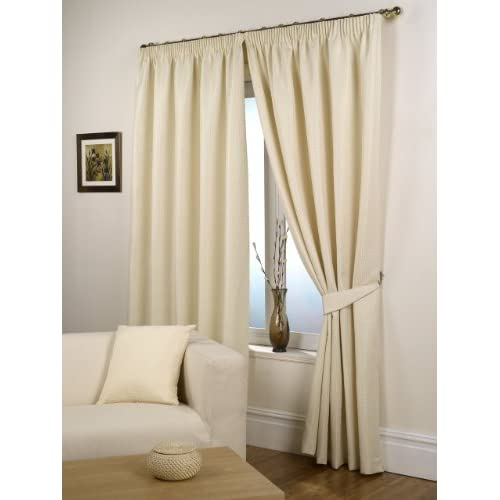 Impressions Waffle Natural Fully Lined Readymade Curtain Pair 90x90in(228x228cm)