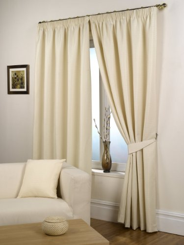 Waffle Natural Lined Ready Made Curtain Pair 46