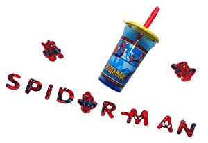 Best Spiderman Gift Idea for Boys Includes Cup with Lid and Straw and Spiderman Fridge Magnets - Best Gifts Ideas for Boys
