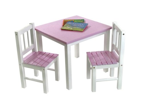 Lipper International 513PK Child's Table and 2-Chair Set, Pink and White