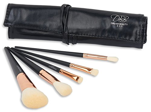 Dream Beauty Box the Best Makeup Brush Set With Travel Case-Synthetic Professional Essential Brushes Kit for Any Makeup Look-Cruelty Free- Non Shedding, Rose Gold & Blackv, 5 Piece