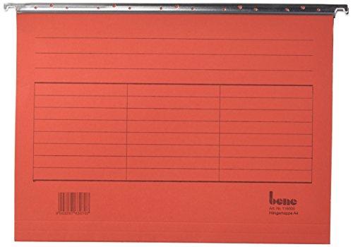 Bene Vario 116505RT - Set di 5 cartelle portadocumenti a sospensione, formato A4, in cartoncino con grammatura 230 g/mq, colore: rosso