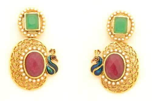 Fashion Balika Fashion Jewelry Gold-Plated Dangle & Drop Earring For Women Red-BFJER007 (Yellow)