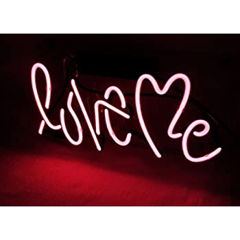 Love Me Neon Light Sign Real Glass Home Bedroom Beer Bar Pub Recreation Room Game Room Windows Garage Wall Sign