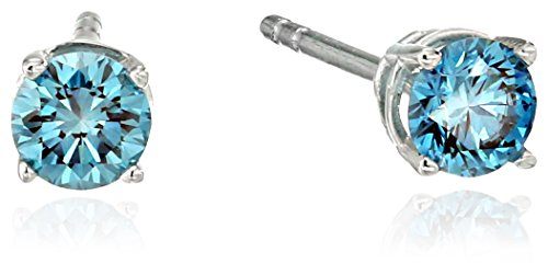 House-of-Eleonore-18k-White-Gold-Blue-Round-Laboratory-Created-Diamond-Stud-Earrings-12-cttw-VS1-VS2-Clarity