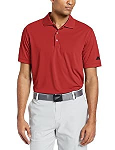 adidas Golf Men's Puremotion Solid Jersey Polo, Bold Red/Black, Small